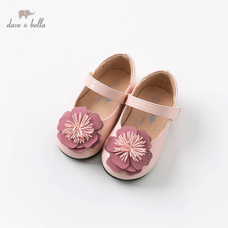DB12851 Dave Bella  Spring  Baby Girl Floral Leather Shoes Children Brand Pink Shoes