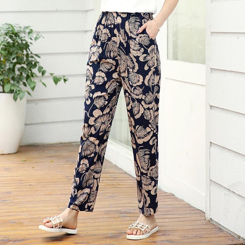 22 Colors 2020 Women Summer Casual Pencil Pants XL-5XL Plus Size High Waist Pants Printed Elastic Waist Middle Aged Women Pants 7