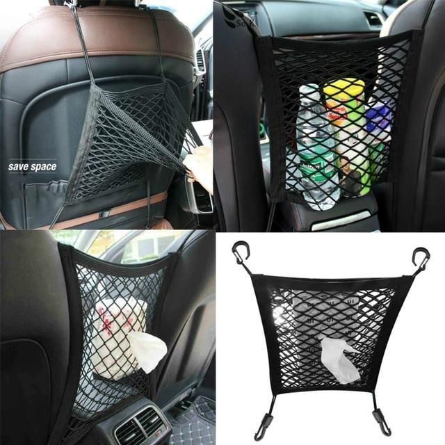 1Pc รถตกแต่งภายในที่นั่งกลับสุทธิตาข่ายยืดหยุ่นรถเก็บกระเป๋า Pocket กรง Velcro ตารางผู้ถือกระเป๋ารถอุปกรณ์เสริม