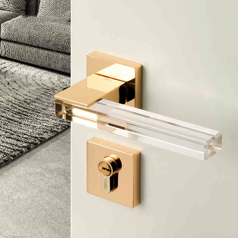 Modern Style /Crystal Texture/Mute Room Door Lock Handle Fashion Interior Door Lock Anti-theft Gate Lock Furniture Hardware