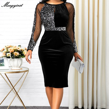 Summer Autumn Dress Women 2020 Casual Plus Size Mesh Long Sleeve Office Lady Sequined Vintage Sexy Party Dresses Bodycon Dress elegant velvet party dress women winter 2019 long sleeve maxi bandage bodycon long party dress women plus size blue dress lady
