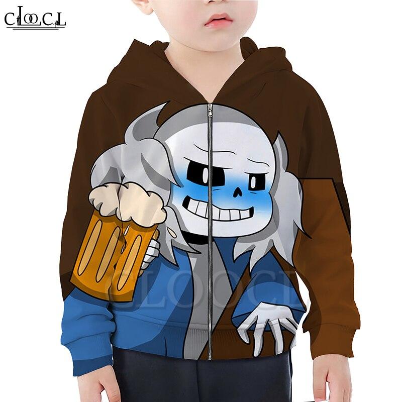 CLOOCL Game Undertale Sans Boy Girl Zipper Hoodie 3D Print Children Zipper Hooded Family Fitted Clothing Casual Streetwear Tops