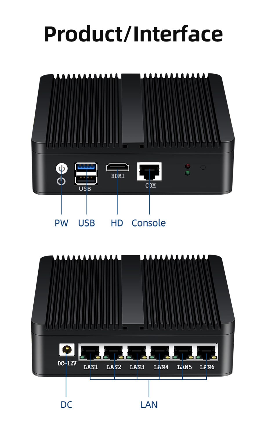 Mini PC Used as Router and Firewall with 6x1000Mbps LAN and Intel Celeron J1900 Processor 12