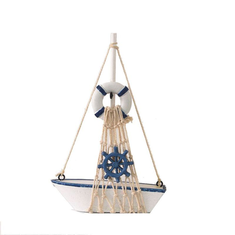 2020 Cotton Net Boat Wooden Craft Nautical Starfish Lifebuoy Rudder Solid Wood Handmade Sailing Model Home Decor