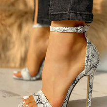 Super High Thin Heels Women Snakeskin Ankle Cross Strap Sandals Shoes