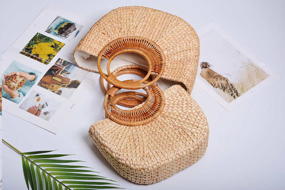 Woven Straw Bucket Bag, Vintage Straw Tote Bag for Summer 2021