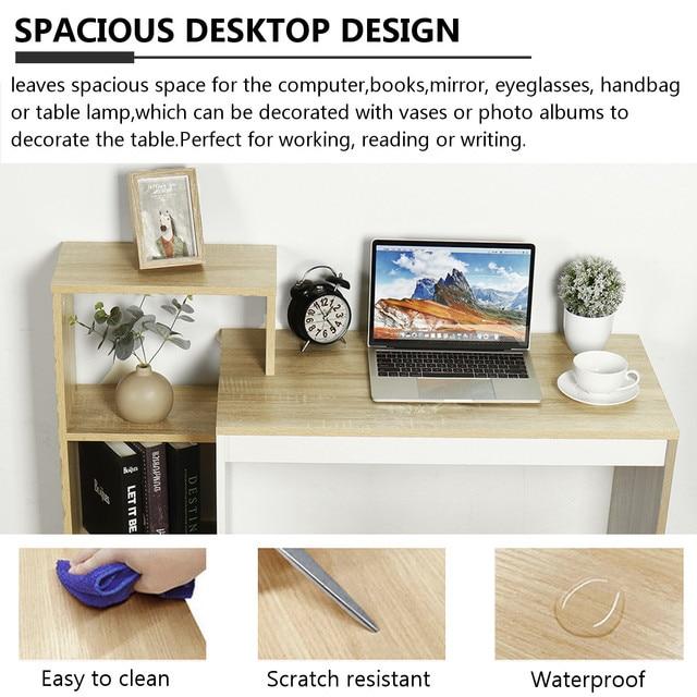 Business Office Furniture Laptop Desk Workstation With 4 Layer Shelf Storage