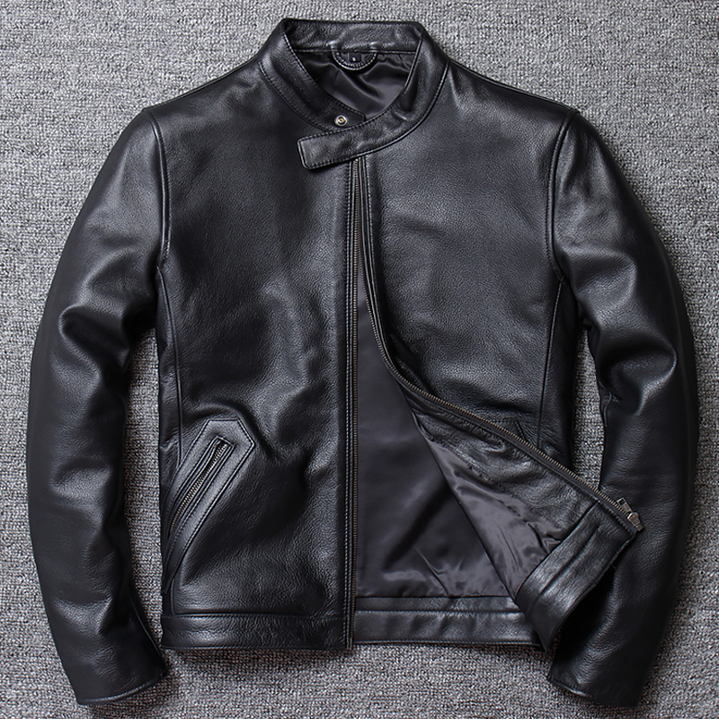 2019 North American Style Mens Cow Leather Jacket Coat Brand Designer Black Genuine Leather Coat For Men Overcoats European A843
