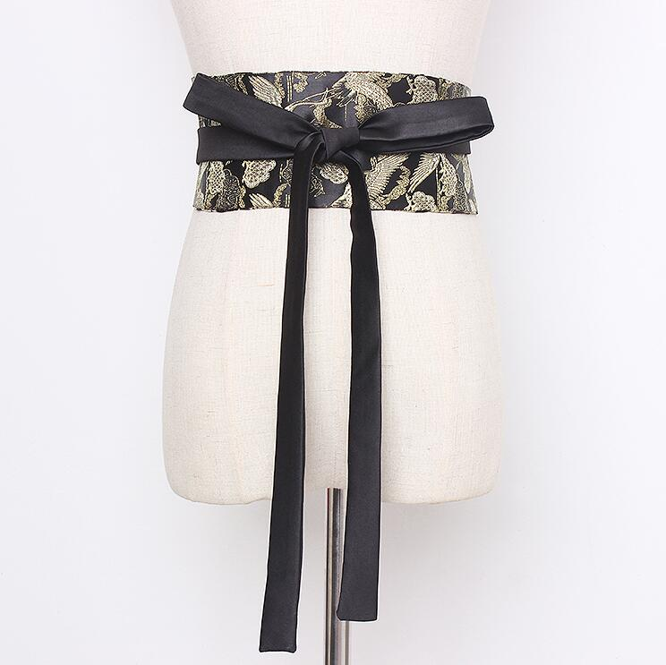 Women's Runway Fashion Bird Jacquard Satin Cummerbunds Female Vintage Dress Corsets Waistband Belts Decoration Wide Belt R2164