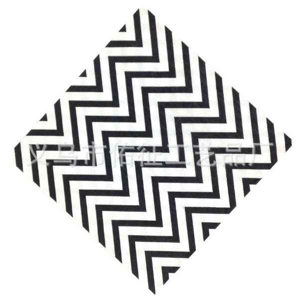 Factory Wholesale Korean-style Foreign Trade Black And White With Pattern Wave Pattern Napkin Printed Paper Towel Cool Kleenex 2