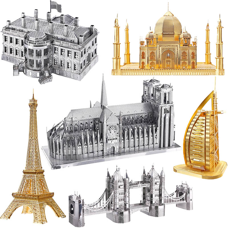 DIY 3D Metal Puzzle Toy World Famous Buildings Assembly Model Building Kits Educational Toys For Children Eiffel Tower