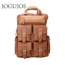 цены JOGUJOS Crazy Horse Vintage Daypack Multi Pocket Travel Men Genuine Leather Backpack High Capacity Casual Rucksack Bag For Men