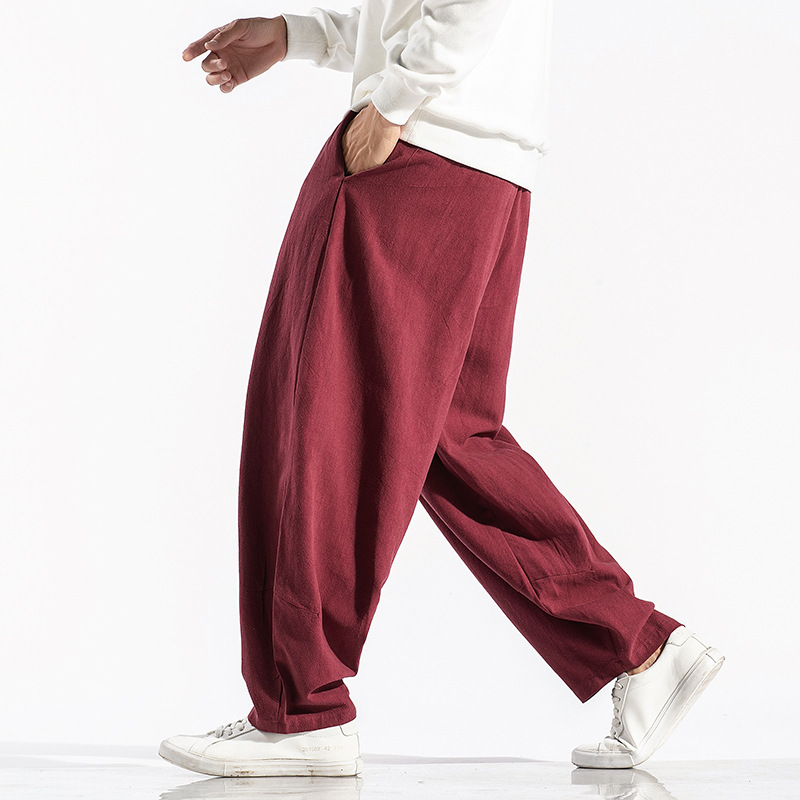 Japanese Style Loose Wide Leg Pant Men Original Clothing Vintage Baggy Lantern Pants Men Retro Full Length Trousers Joggers Men