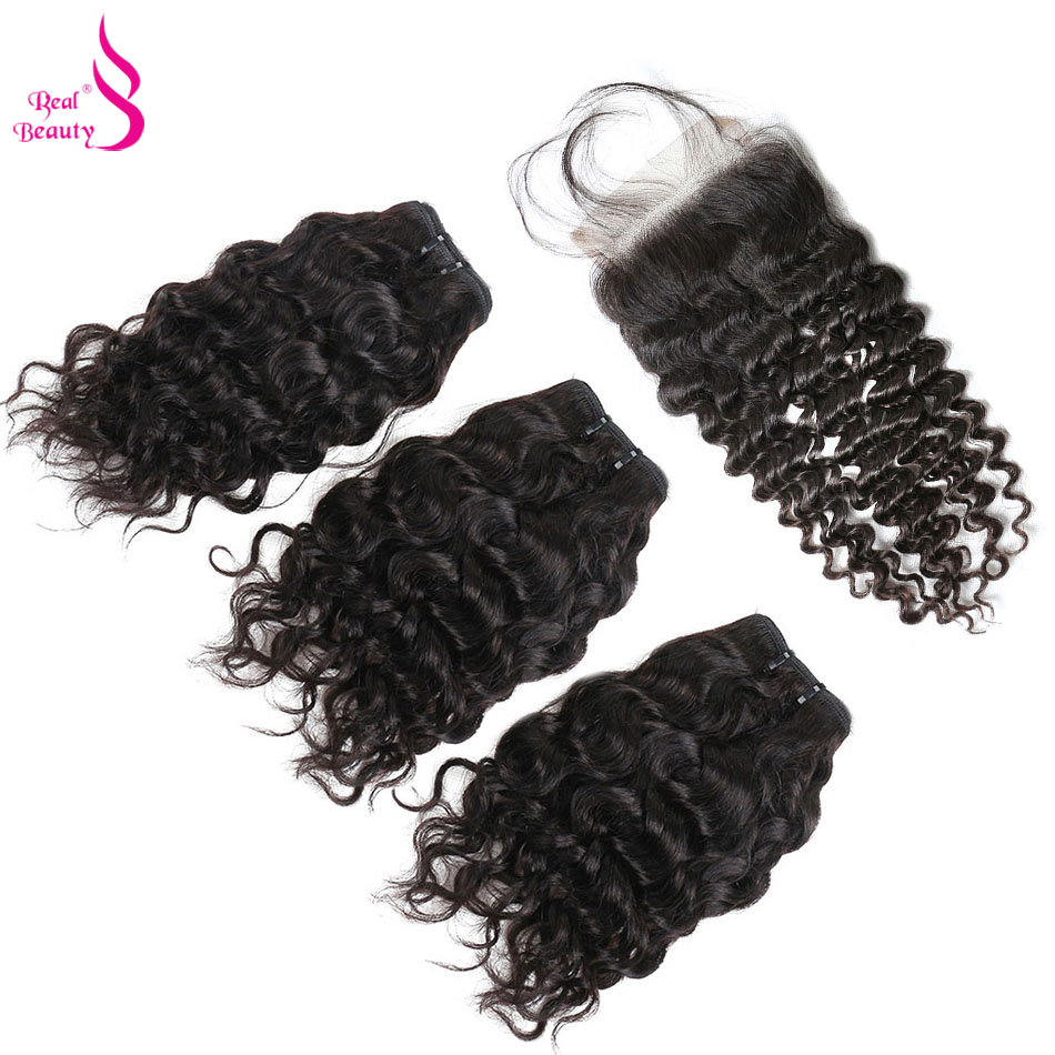 Real Beauty 50G Water Wave 3 Bundles With Closure Malaysian Remy Human Hair Bundles Deals Ocean Weave Human Hair Extensions