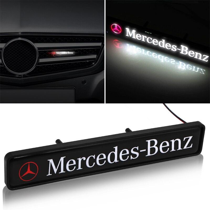 ABS Chrome Front Hood Grille Emblem Badge LED Decorative Lights For Mercedes Benz AMG A B C Class C S E GLC GLK CLA ML GLE Class
