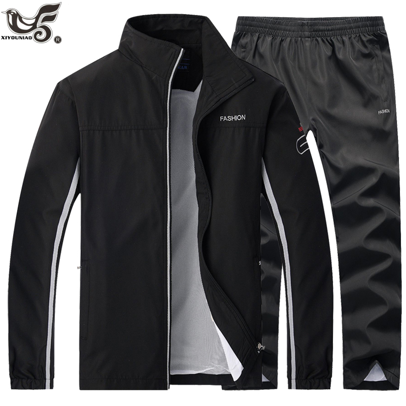 Brand Tracksuit Man Two Piece Track Jacket + Pants Sets Casual Men`s Sportswear Jogging Gym Sweat Suits Men Training Clothing