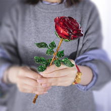 H & DคริสตัลสีแดงRoseดอกไม้Figurines CRAFTวาเลนไทน์วันเกิดFavors Xmasของขวัญงานแต่งงานตกแต่งตารางเครื่องประดับ