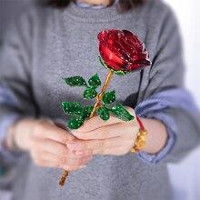 H & D di Cristallo Rosso Fiore di Rosa Figurine Mestiere Di Compleanno il Giorno di san valentino Favori di Xmas Regali di Nozze Decorazione Della Tavola di Casa ornamento