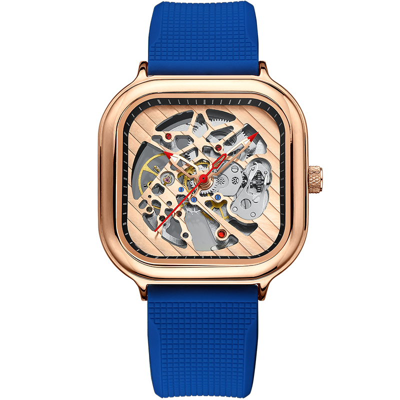 2020 new men's automatic watch top brand luxury silicone strap hollow Swiss square top ten watches 11