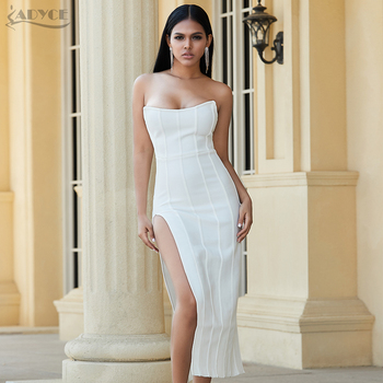 Adyce 2020 New Summer White Bandage Dress Women Sexy Strapless Sleeveless Maxi Bodycon Club Celebrity Evening Party