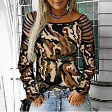 LOOZYKIT Women's Camouflage T-Shirt Autumn  Print Shoulder Strap Hollow Long Sleeve T-Shirt Round Neck Casual Loose T-Shirt 2019 camouflage cold shoulder slit t shirt
