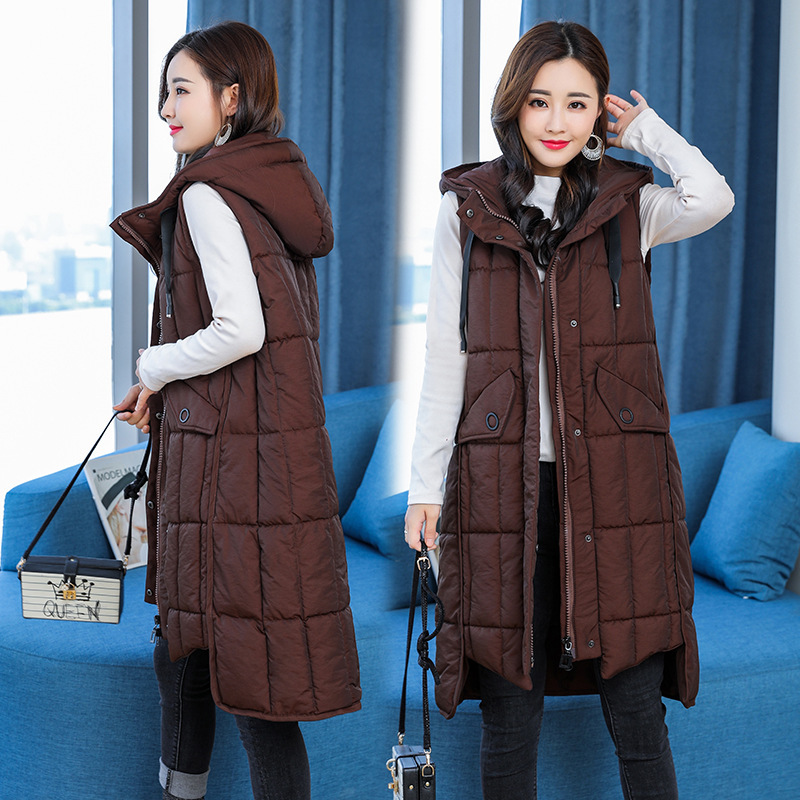 2018 Autumn And Winter New Style Waistcoat Women's Mid-length Hooded Large Size Cotton Waistcoat Sleeveless Slim Fit Thick Fat M