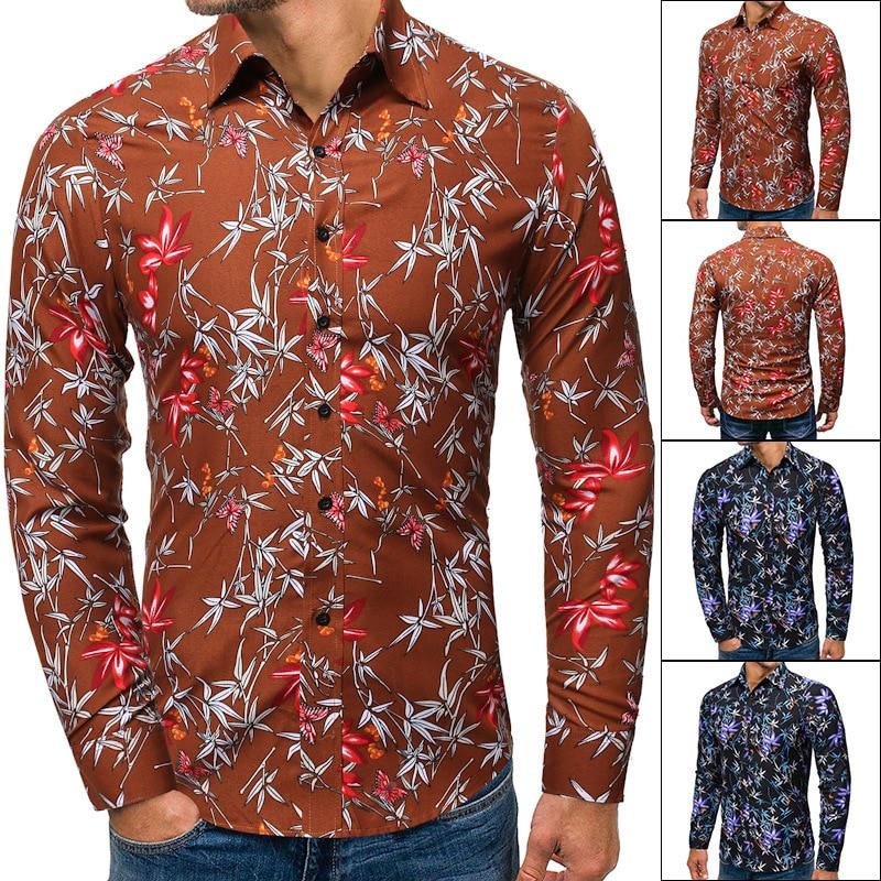 2019 Autumn Men's Wear Printing Lapel Man Long Sleeve Shirt Cs64