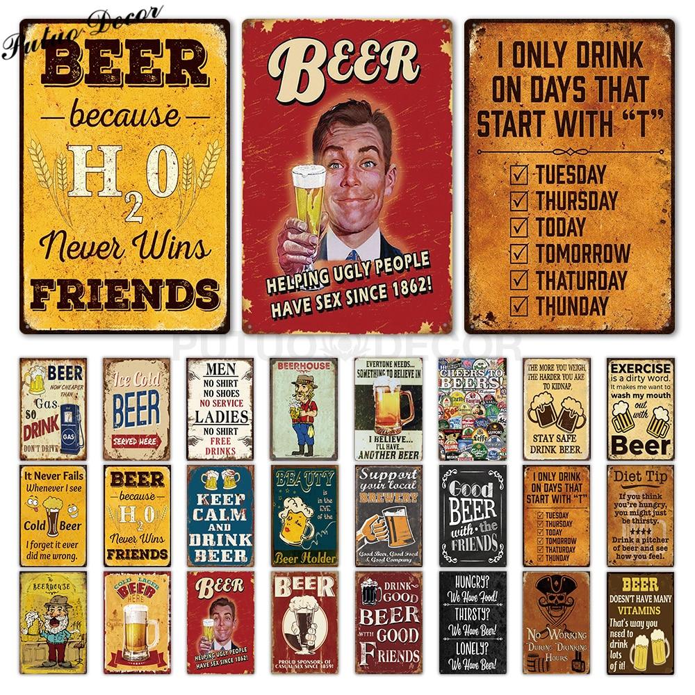 Funny Metal Sign Beer Tin Sign Plaque Metal Vintage Pub Metal Plate Wall Decor for Bar Pub Club Man Cave Decorative Plates(China)