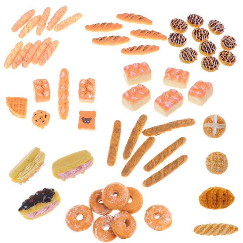 Thu Nhỏ Thực Phẩm Dụng Cụ Bánh Mì Bánh Mì Nướng Nóng Chó Có Giỏ Phòng Ăn Bánh Bánh Ngọt Trang Trí Bếp Giả Vờ Chơi Đồ Chơi 1:12 Nhà Búp Bê