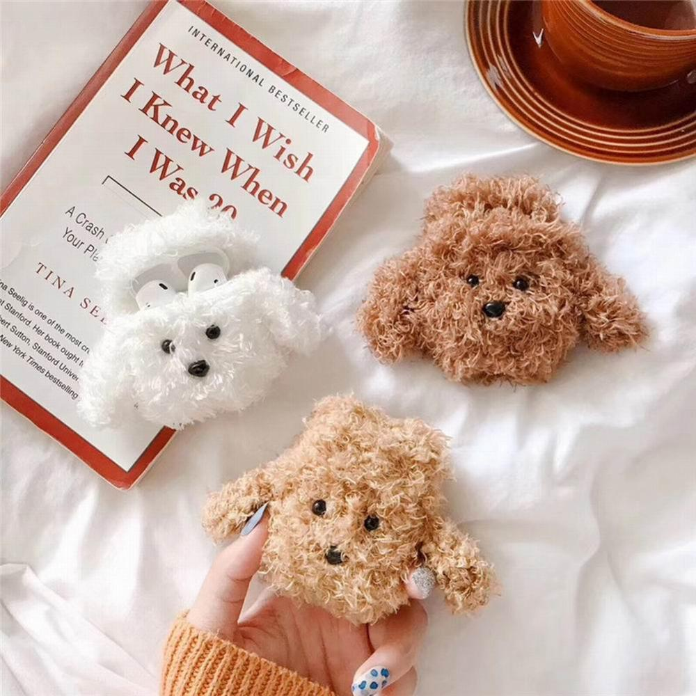 Autumn And Winter Plush Dog Teddy Suitable For AirPods2 Apple Bluetooth Wireless Headset Protective Cover Soft Shell Anti-fall