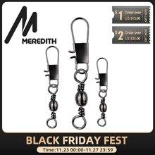Meredith 50 pçs/lote aço inoxidável conector de pesca pino rolamento rolamento giro snap pinos equipamento de pesca acessórios