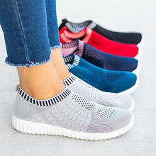 Breathable mesh sneakers women shoes 2020 slip on women sneakers platform knitting flats soft walking shoes woman tenis feminino(China)