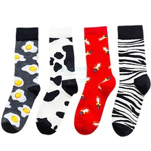 Fashion Egg Cow Unisex Striped Happy Socks Men Streetwear Autumn Winter Hip Hop