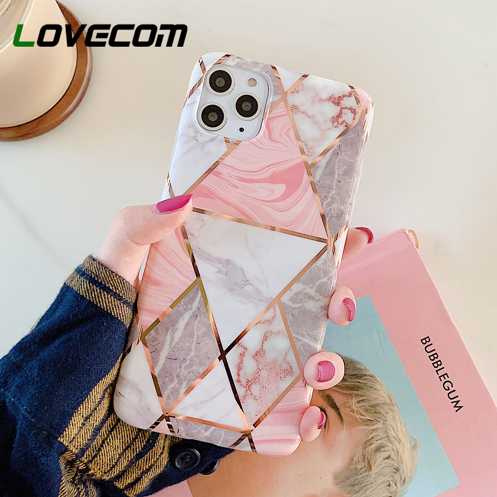LOVECOM Phone Case For iPhone 11 Pro Max XR XS Max 6 6S 7 8 Plus X Colorful Geometric Marble Soft IMD Electroplated Back Cover(China)