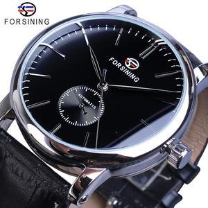 Image 1 - Forsining reloj mecánico minimalista para hombre, esfera negra delgada, automático, informal, de cuero genuino, de pulsera, masculino