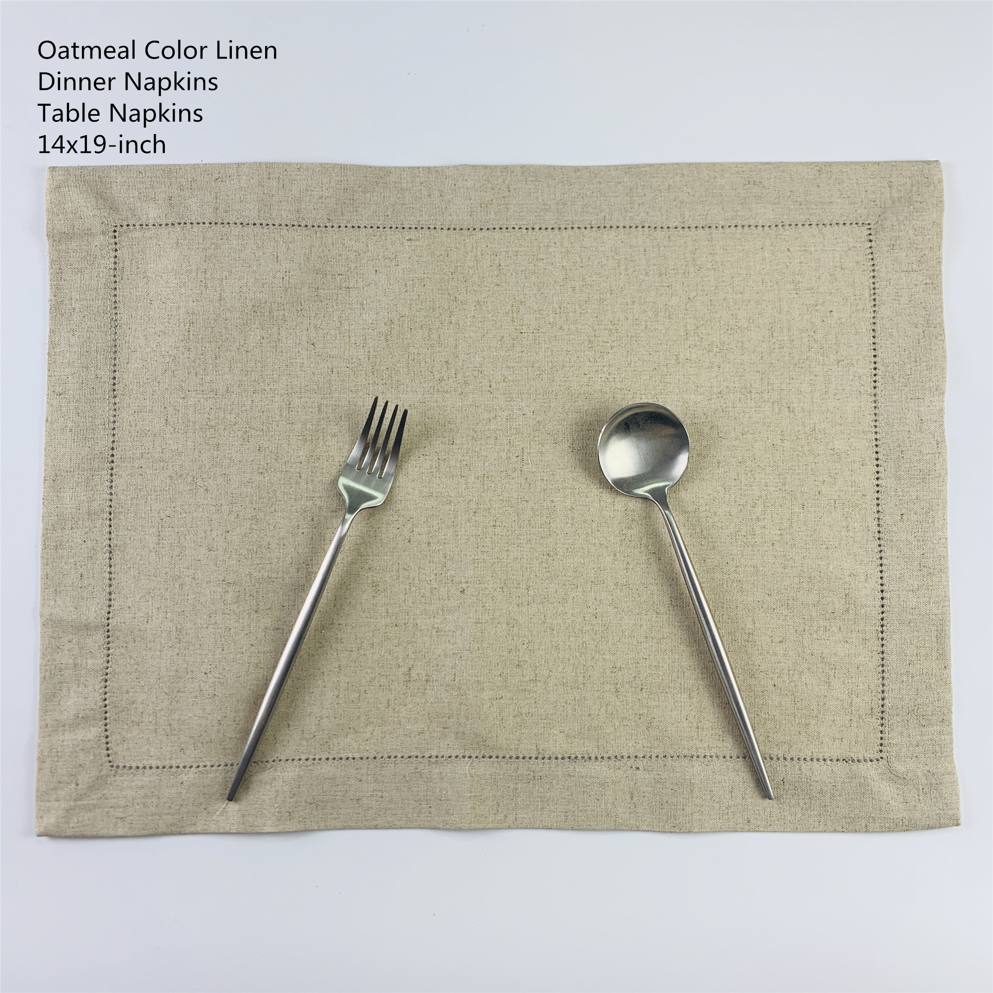Set Of 12 Fashion Placemsts 14x19-inch Oatmeal Color Linen Table Cloth Ladder Embroidery Hemstitched For Elegant Lunch Or Dinner