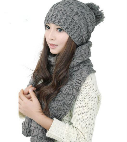 2020 Women Winter Scarf And Hat Set Knitted Girls Thicken Knitting Collars Skull Caps 7 Colors Top Quality Beanie Ball Hats
