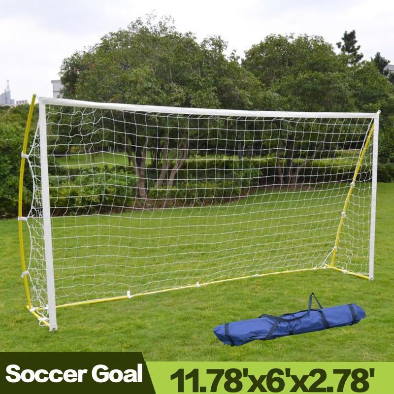 Outdoor Portable Football Training Soccer Goal Garden 12' X 6' Soccer Net Nelon Net Sport Training (With Frame)