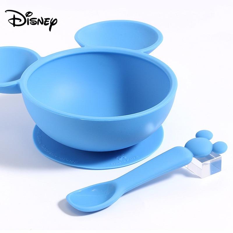 Ensemble de cuillères en silicone Disney | Bol, cuillère pour bébé, alimentation bébé vaisselle incassable coffret cadeau
