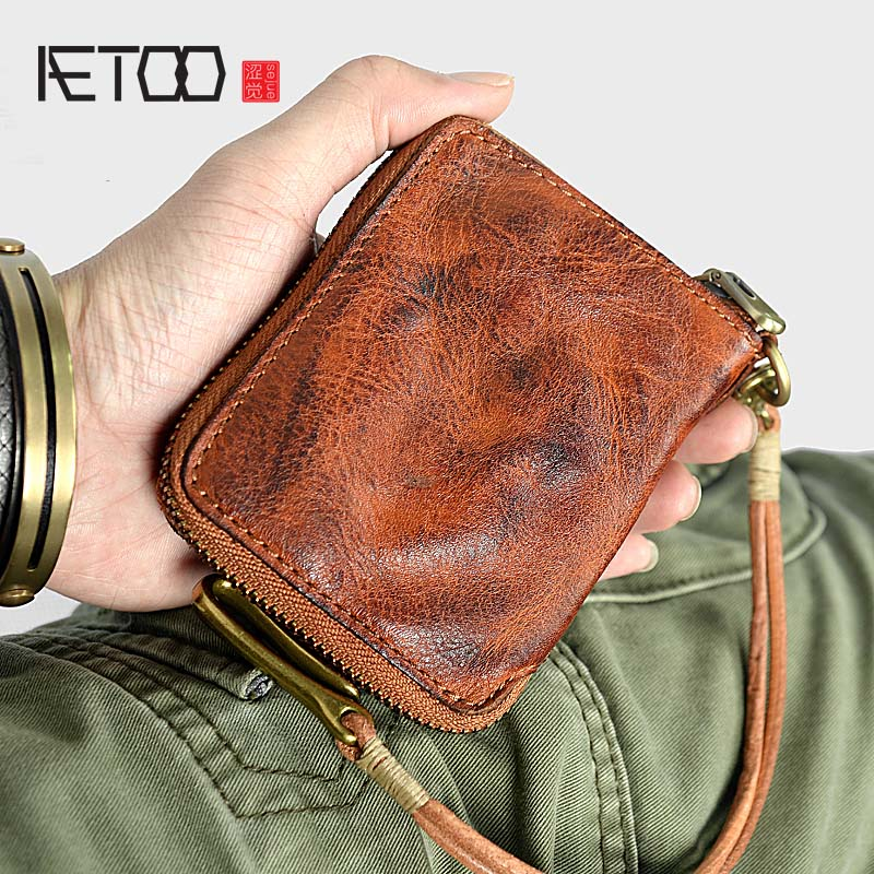 AETOO Leather Handmade Wallet Top Layer Leather Men's Vertical wallets Retro Men's Leather Multifunctional Soft Leather wallet