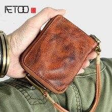 AETOO cartera de cuero hecho a mano para hombre, billetera Vertical de cuero de capa superior, billetera de cuero suave multifuncional Retro