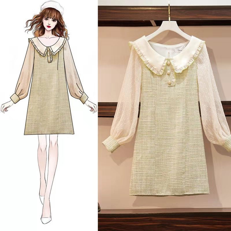 New French Fashion Dress Doll Collar Long Sleeve Screen Green Fairy Dress