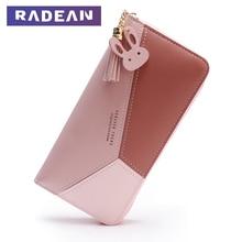 2019 Tassel Women Wallets Fashion Brand Leather Purse Geometric Card Holder Patchwork Long Wallet RADEAN