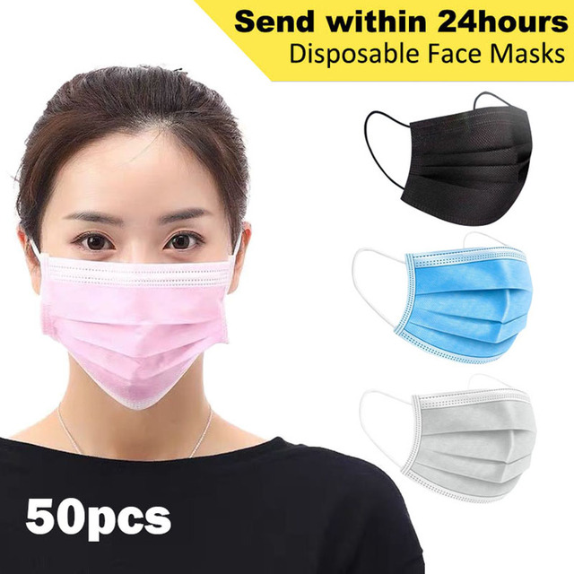 Face Masks 3 Layer Elastic Mouth Mask Anti-Flu Kids Disposable Mask Soft Breathable PM2.5 Nonwoven Pink Blue White Black