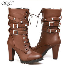 Купить с кэшбэком OQC Women Zipper Mid-calf Boots Autumn Winter Fashion Side Zipper Rivet Belt Platform Chunky Heel Wild Style Boot For Ladies D25