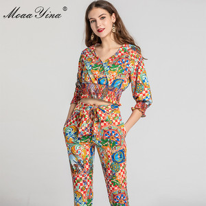 Image 3 - MoaaYina Fashion Designer Set Spring Summer Women V neck Vintage Baroque Print Tops+Pencil pants Two piece suit