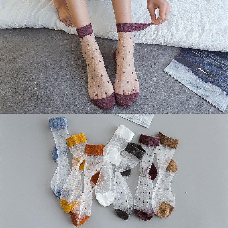 Женские носки cristal seda punto chica punto imprimir transparente verano zapatillas invisibles calcetines mujer harajuku fuzzy