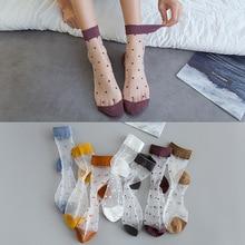 women socks cristal seda punto chica imprimir transparente verano zapatillas invisibles calcetines mujer harajuku fuzzy