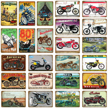 Americano Italia Inghilterra Classici Moto Metallo Targhe In Metallo Vintage Poster Da Parete Per Pub Bar Garage Club Complementi Arredo Casa Art Sticker(China)