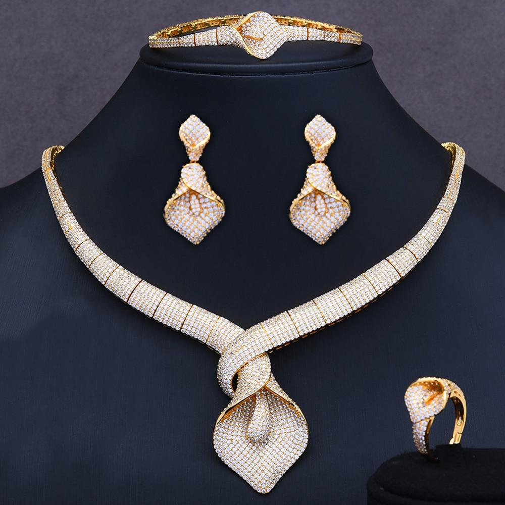 GODKI Jimbora célèbre marque 2020 breloques ensembles de bijoux de mariage faisant des ensembles de bijoux pour les femmes déclaration collier boucles d'oreilles accessoire